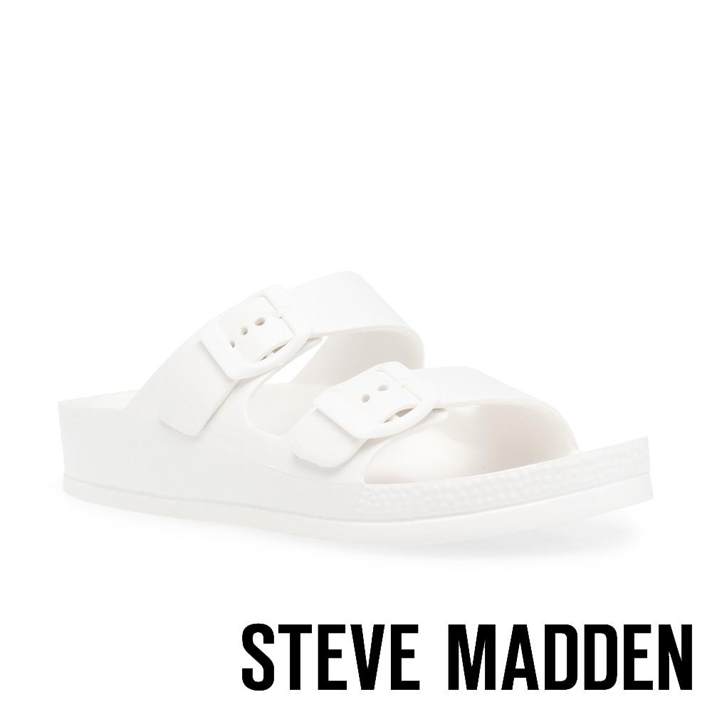 STEVE MADDEN-EVANNE 百搭雙帶扣飾休閒拖鞋-白色