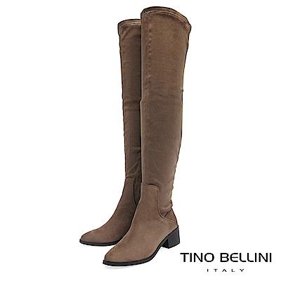 Tino Bellini 經典原色麂皮中跟過膝長靴 _ 駝