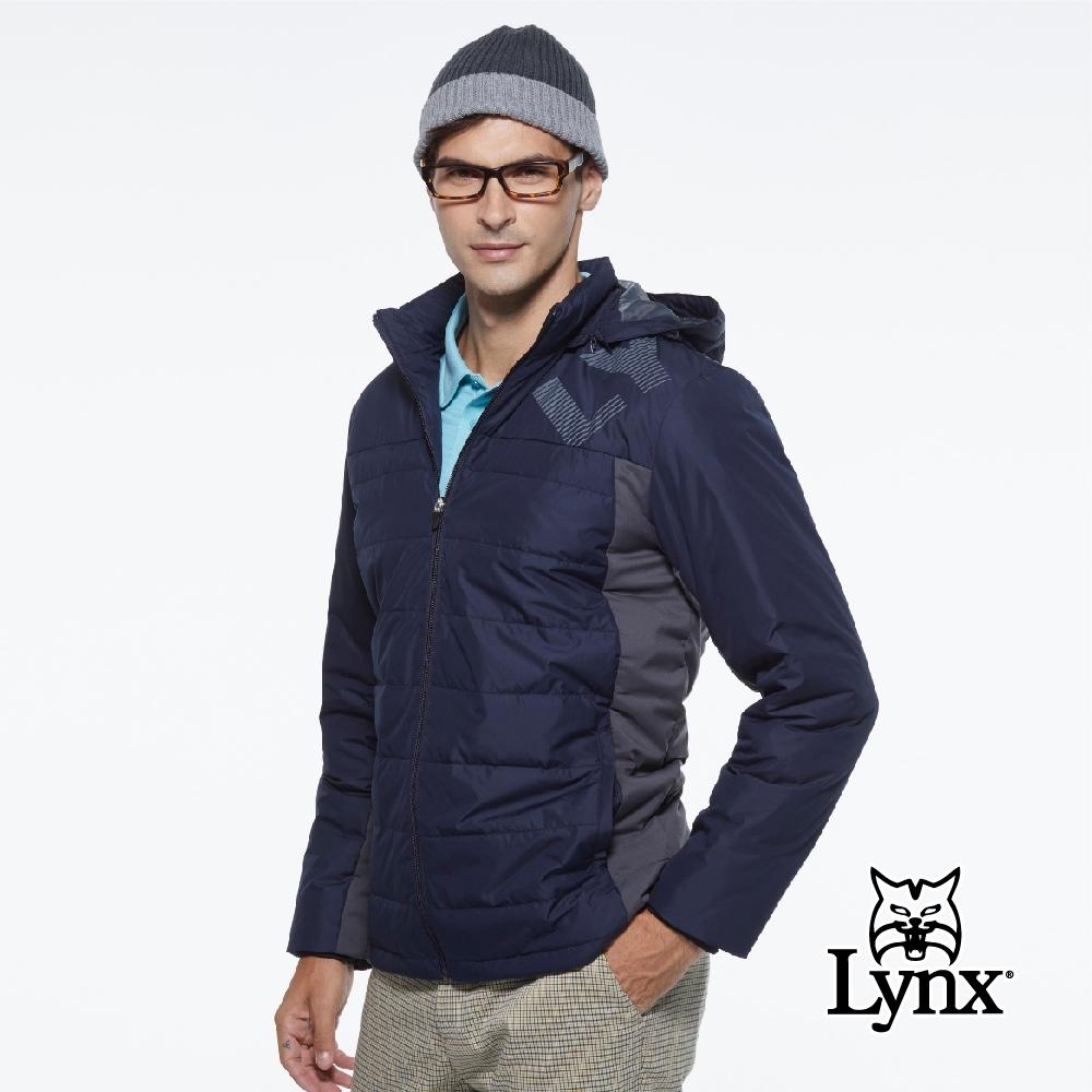 【Lynx Golf】男款防潑水防風保暖科技羽絨Lynx印花連帽可拆式長袖外套-深藍色