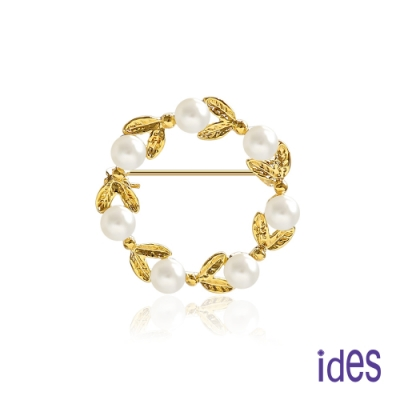 ides愛蒂思 時尚輕珠寶淡水貝珠胸針/幸運花圈