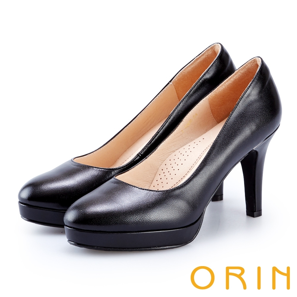 ORIN 展現時尚魅力 後跟金屬條飾羊皮質感高跟鞋-黑色