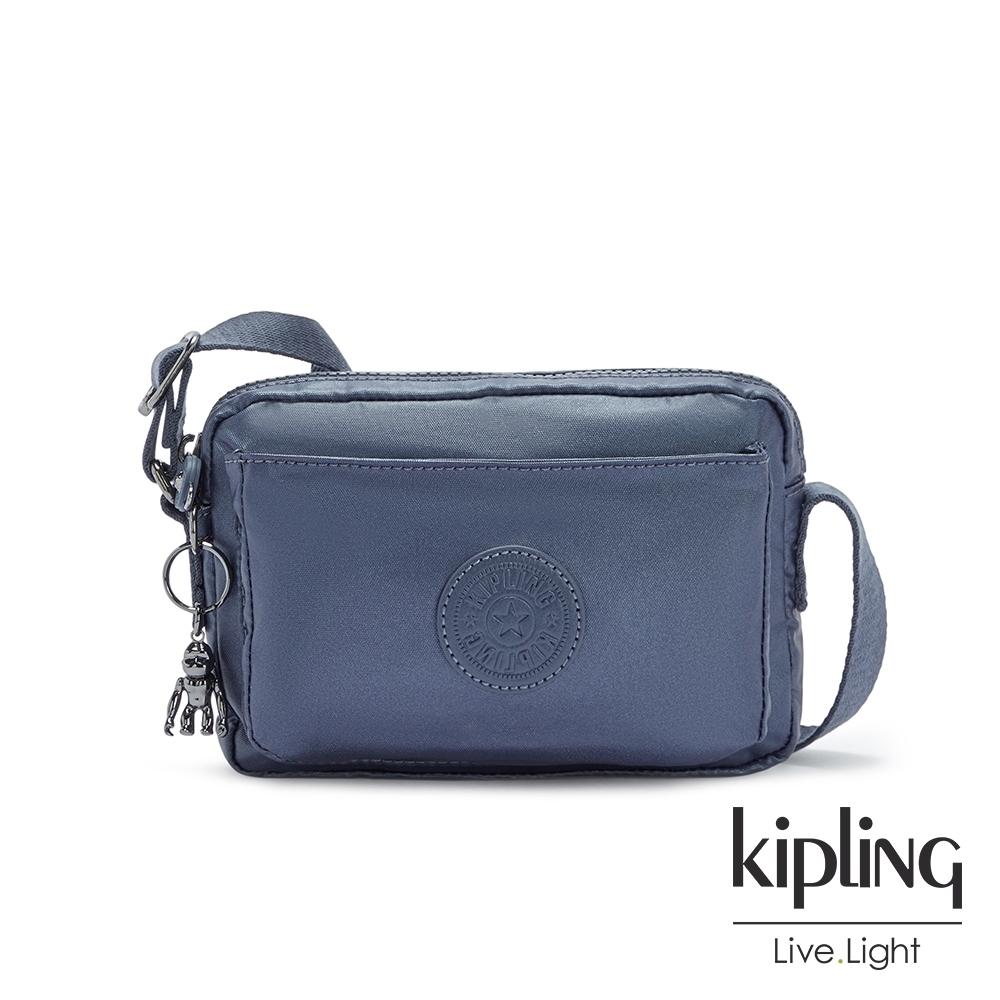 Kipling 個性霧灰藍前後加寬收納側背包-ABANU