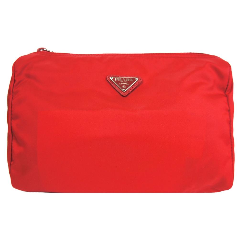 PRADA 三角鐵牌尼龍萬用/化妝包(紅)