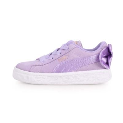 PUMA SUEDE BOW AC INF 女兒童休閒運動鞋-蝴蝶結款 粉紫