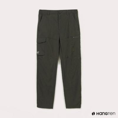 Hang Ten-男裝-恆溫多功能-REGULAR FIT標準提織吸濕快乾抗曬多口袋運動長褲-綠色