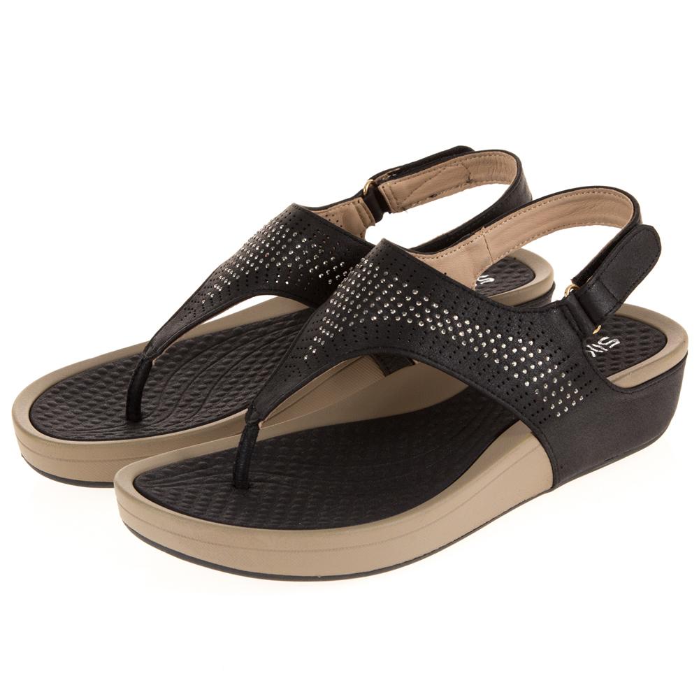 JMS-時尚點點晶鑽舒壓厚底夾腳涼鞋-黑色