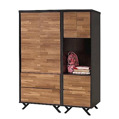 文創集 路華4.5尺雙色衣櫃組合(吊衣桿+四抽屜+開放層格)-135x55x180cm免組