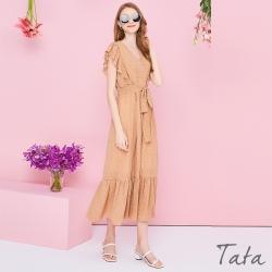 拼接荷葉點點印花洋裝 共二色 TATA-F