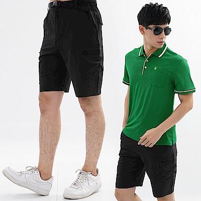【遊遍天下】男款彈性抗UV休閒短褲GP10005(贈腰帶)黑色