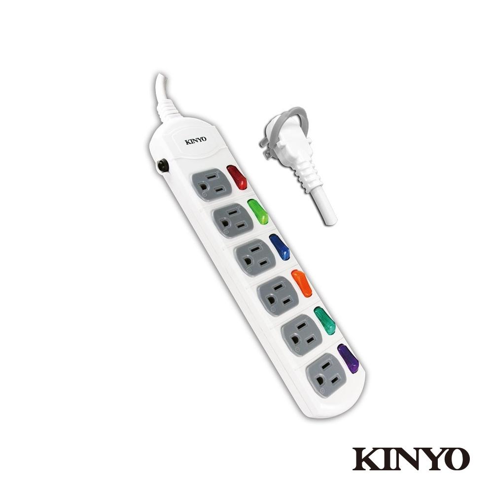KINYO 6開6插延長線(6尺)CG1666