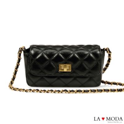 La Moda 人氣小香風菱格紋旋釦肩背斜背鍊條包(黑)