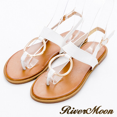 River&Moon大尺碼-簡約T字圓扣寬帶皮感涼鞋-白