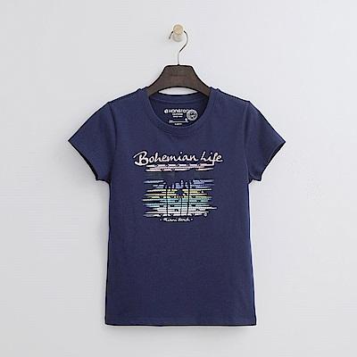 Hang Ten - 女裝 - 有機棉 邁阿密印字T恤-藍色