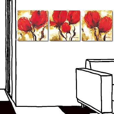 橙品油畫布 三聯式方形 花卉藝術無框畫-紅艷30x30cm