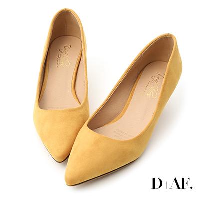 D+AF 典雅秋氛.素面絨料低跟尖頭鞋*黃