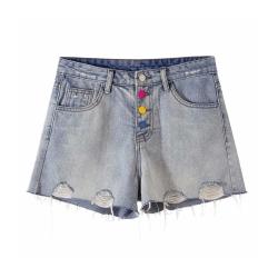 彩色排扣牛仔短褲 TATA PLUS-(XL/2XL)