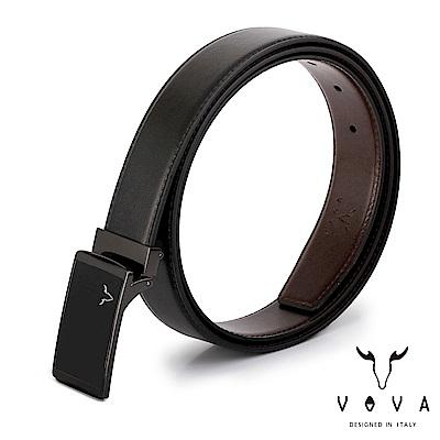 VOVA - 休閒紳士琴鍵鏡面素面紋皮帶 - 鎗色
