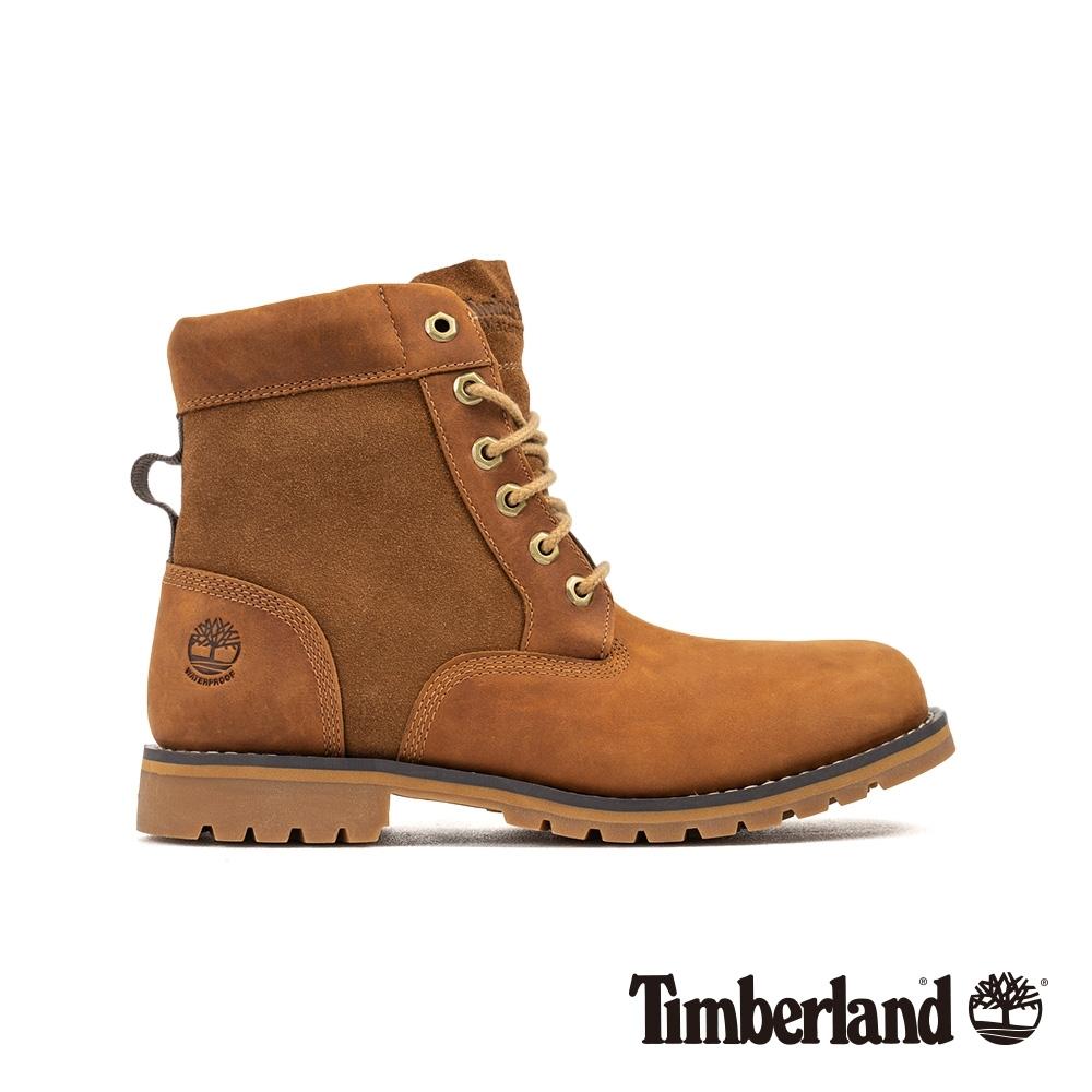 Timberland 男款中棕色全粒面革經典靴 6851B