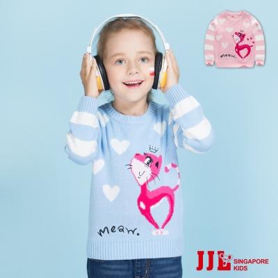JJLKIDS 條紋愛心貓咪棉質保暖針織長袖上衣(2色)