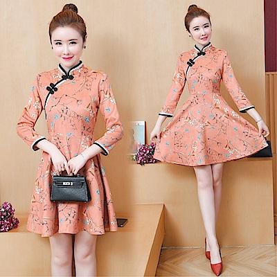 DABI 復古改良旗袍式短款繡花顯瘦長袖洋裝