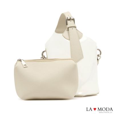 La Moda 夏日時尚元素可換背法透明果凍子母包(白)