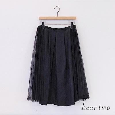 beartwo 異材質拼接百摺網紗仙氣紗裙(二色)