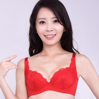 思薇爾 沁甜花漾系列B-F罩蕾絲包覆內衣(袍紅色)
