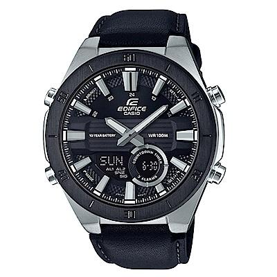 EDIFICE 時尚3D立體金屬時刻設計皮帶雙顯錶-黑(ERA-110BL-1)/47.6