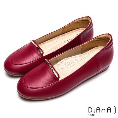 DIANA時尚簡約真皮平底樂福鞋-漫步雲端厚切焦糖美人-紅