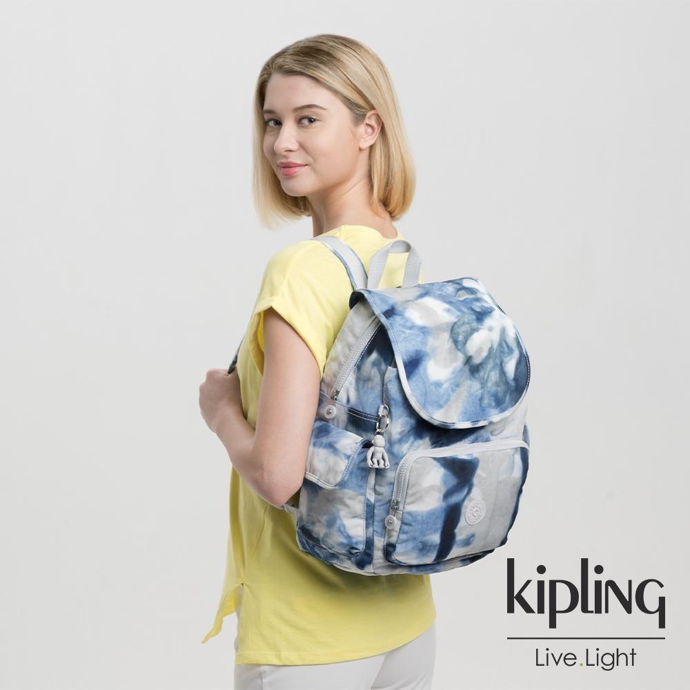 Kipling 率性渲染藍拉鍊掀蓋後背包-CITY PACK