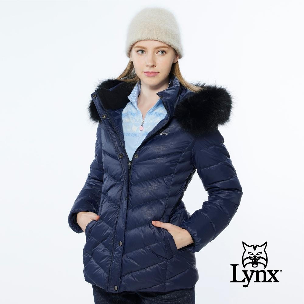 【Lynx Golf】女款防風保暖潑水羽絨晶亮斜紋拉鍊口袋長袖可拆式連帽外套-深藍色
