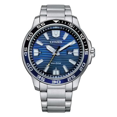 CITIZEN GENT S 光動能海洋波紋型男腕錶-銀X藍-AW1525-81L-44.5mm
