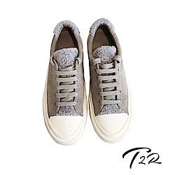 【T2R】韓國空運流行款毛毛異材質拼接帆布鞋-灰