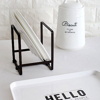 Homely Zakka 簡約工藝鐵製盤架/瀝水架/置物架(黑色)