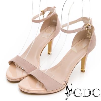 GDC-優雅LADY羊絨一字後包素色中高跟涼鞋-裸色