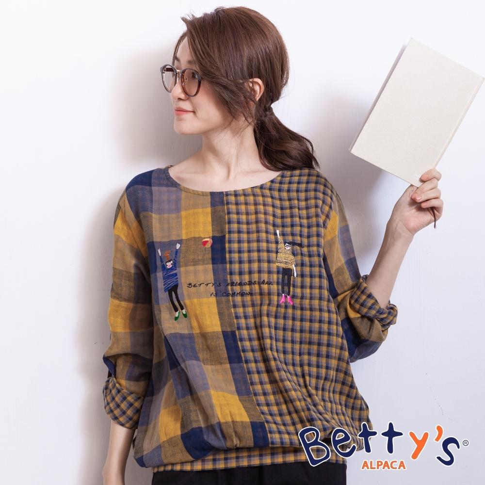betty's貝蒂思 混搭格紋前刺繡舒適上衣(黃色)