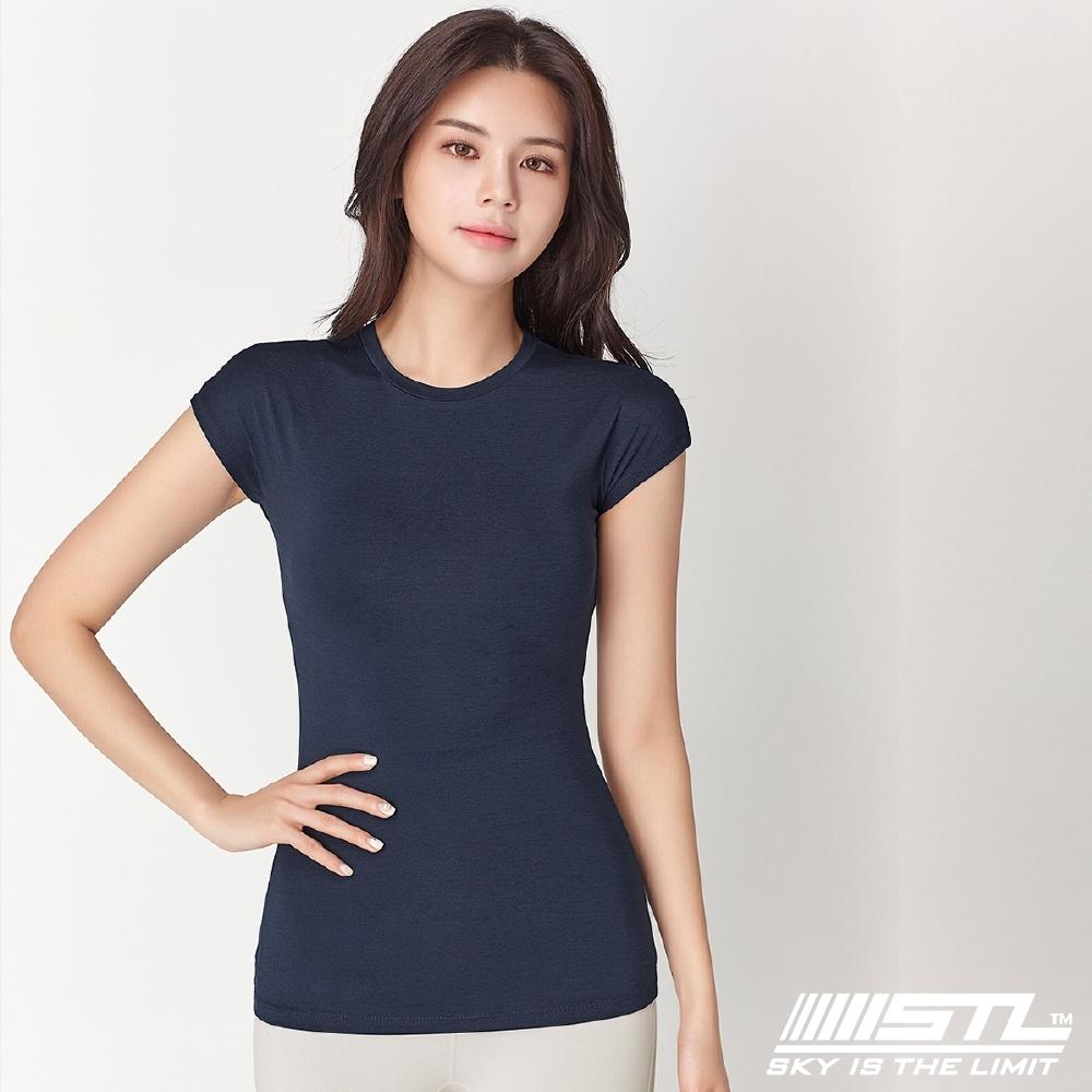 STL Essence Stretch Volume 韓國無肩線短袖機能素色上衣 本質伸展午夜藍