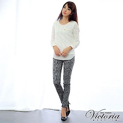 Victoria 中腰雙色蕾絲提花九分褲-女-深灰