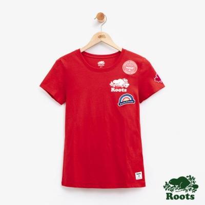 女裝Roots 貼布短袖T恤-紅