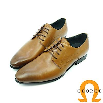 【GEORGE 喬治皮鞋】素面漸層綁帶紳士鞋皮鞋-棕