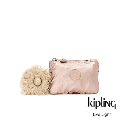 Kipling 金屬光暈微醺粉三夾層配件包-CREATIVITY S