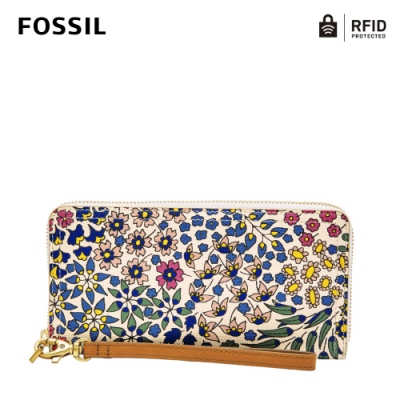 FOSSIL LOGAN 防潑水RFID防盜拉鍊長夾-花之舞SL7828991