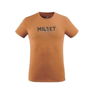 MILLET 男 TAPE LOGO 有機棉短袖排汗衣 褐-MIV86719050