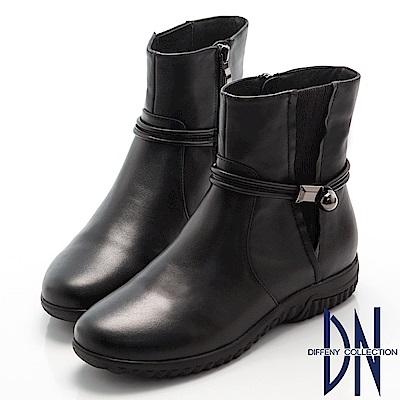 DN 百搭首選 真皮拼接金屬飾釦楔型短靴-黑