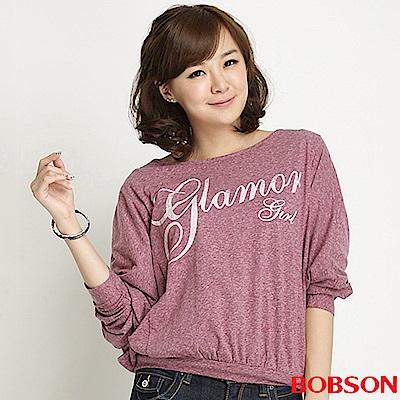 【BOBSON】女款字母印圖連袖上衣(紫紅62)