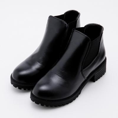 River&Moon大尺碼短靴 素面側鬆緊粗跟短靴 黑