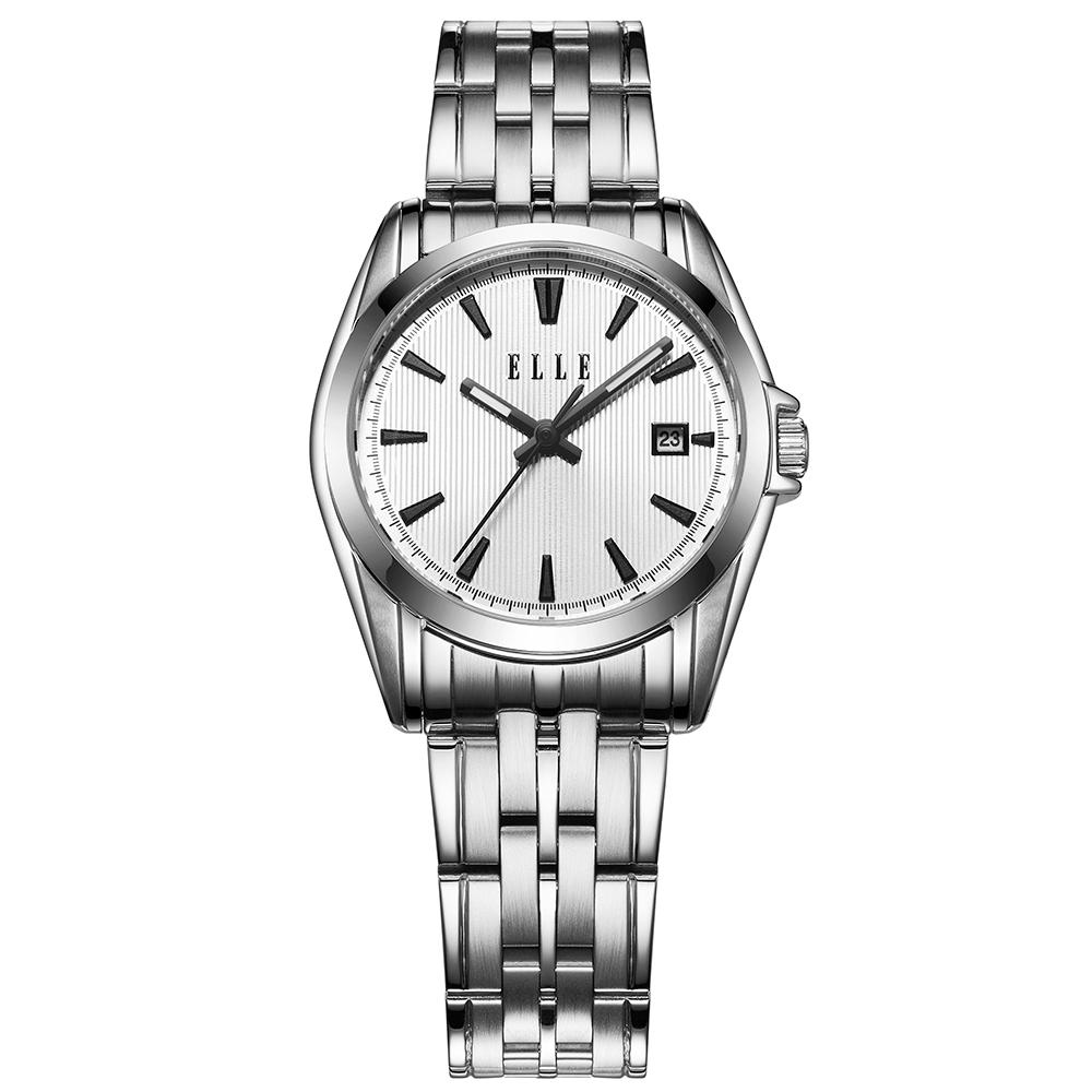 ELLE 知性簡約不鏽鋼女錶-白/25mm @ Y!購物