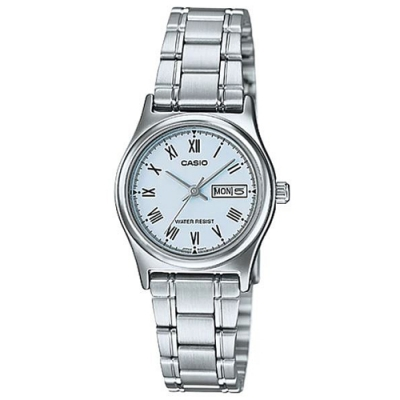 CASIO 時尚簡約日期顯示羅馬時刻不鏽鋼腕錶-藍(LTP-V006D-2B)/25mm