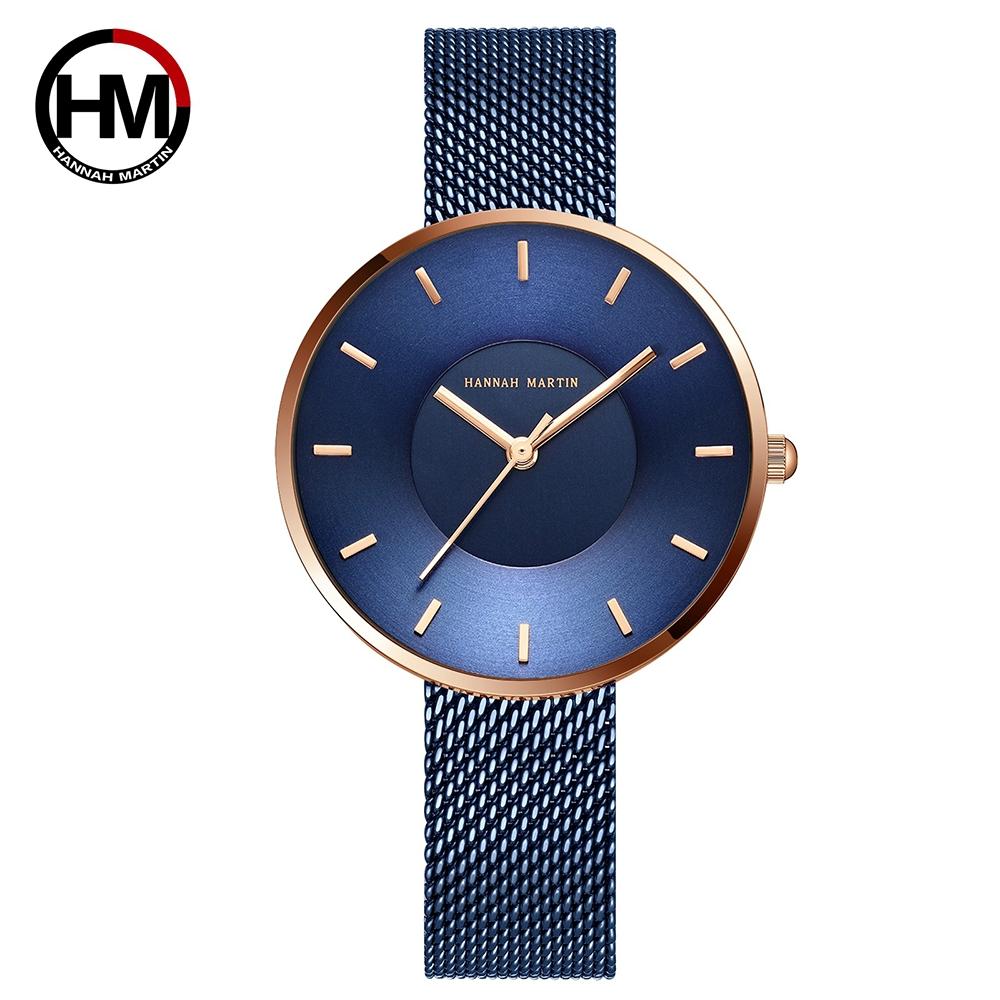 HANNAH MARTIN 2020新款潮流-限量日本機芯-藍 韓版女錶(HM-1052)*34mm