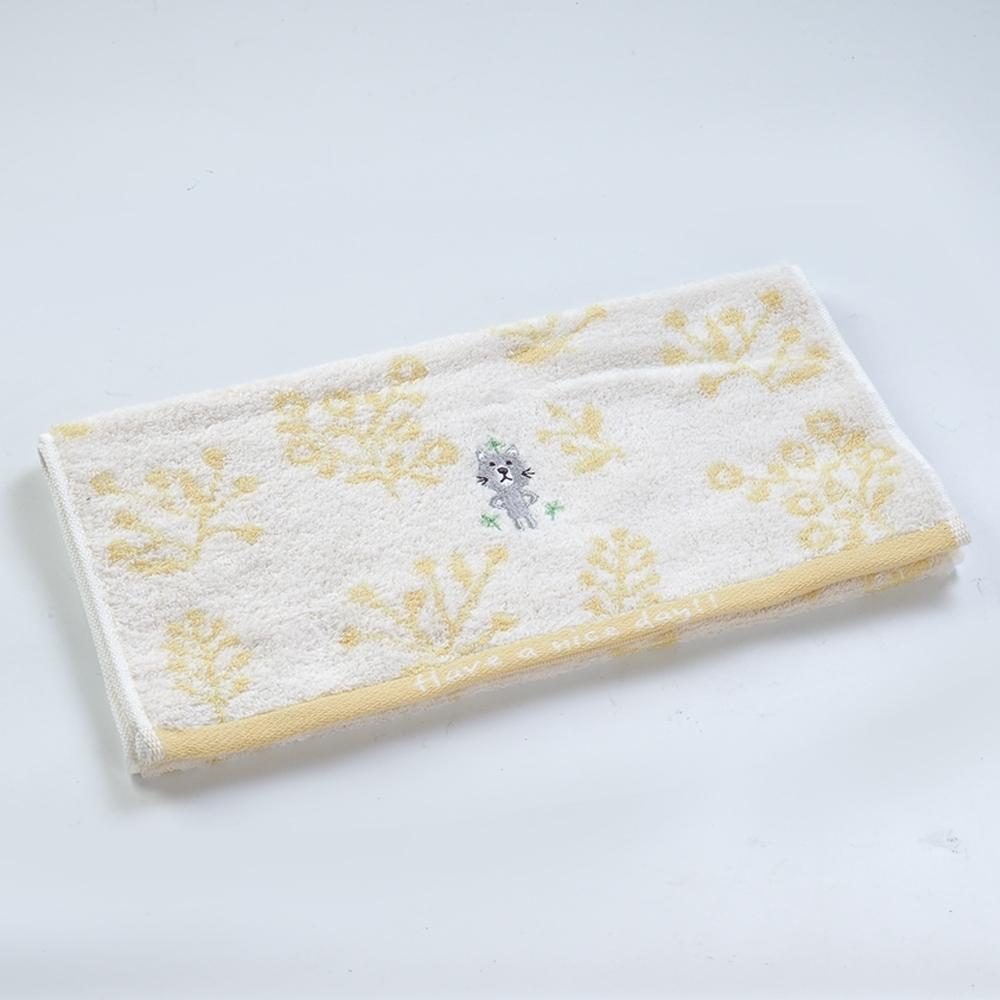 日本愛子 Hartwell 今治可愛寶貝刺繡毛巾-黃貓咪